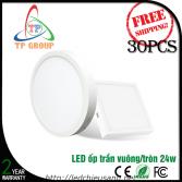 LED ốp trần tròn, vuông vỏ trắng 24W