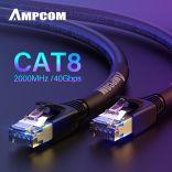 Dây Pactch Cord CAT8 cao cấp PASS FLUKE TEST - AMPCOM CAT8 Standard Ethernet Cable 3M Black