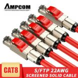 Dây Pactch Cord CAT8 cao cấp PASS FLUKE TEST - AMPCOM CAT8 Industral Level Patch Cable 5M Black