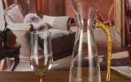 Bình chắt rượu pha lê đúc vàng lá 24K