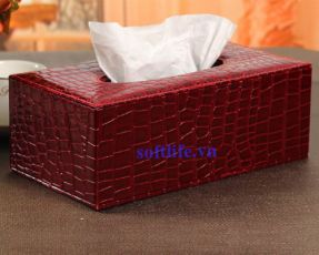 Hộp khăn giấy bọc da HBD09