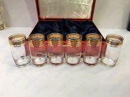 Bộ 6 cốc pha lê khảm vàng 24K viền hoa CC02