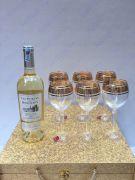 Bộ 6 ly vang khảm vàng 24k viền hoa LT02