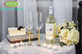 Bộ ly đôi ngày cưới đúc vàng 24K LDV04