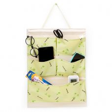 Túi vải 5 ngăn vải bố, kèm dây treo và thanh gỗ