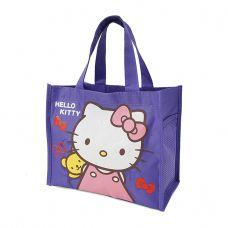 Túi đựng cơm + nước uống 3 ngăn loại trung Kitty tím