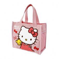 Túi đựng cơm + nước uống 3 ngăn loại trung Kitty hồng nhạt
