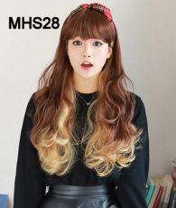 Bộ Tóc Xoăn Dài Ombre Nâu Vàng MHS28( tặng trùm tóc)