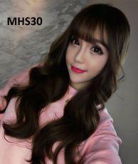 Bộ Tóc Xoăn Mái Thưa Nâu Đen MHS30( tặng trùm tóc)