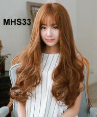 Bộ Tóc Xoăn Lọn Mái Thưa Nâu Vàng MHS33 ( tặng trùm tóc)