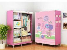 Tủ Vải 3D 2 Buồng 6 Ngăn ( cô gái cây hồng, cối xoay gió, bướm đen,cô gái nốt nhạc, cô gái tím)