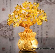 Cây Tài Lộc Đá Thạch Anh Vàng 18.5cm (vàng)