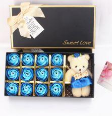 Hoa Hồng Sáp 12 Bông Kèm Gấu Sweet Love