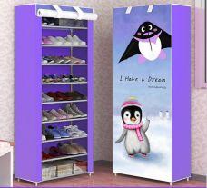 Tủ Đựng Giày 10 Tầng Cao Cấp 3D (chim cánh cụt, cô gái tím)