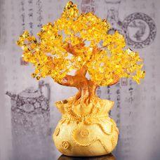Cây Tài Lộc Đá Thạch Anh 21.5cm (vàng, tím)