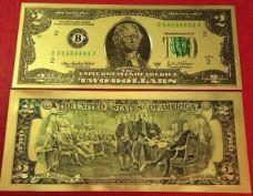 Tiền Mạ Vàng 2USD, 100 USD Plastic