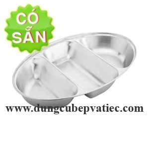 Khay inox oval 3 ngăn