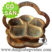 Khay gỗ xếp đựng bánh mứt hạt dưa tết 5 ô KG5S-35-DK