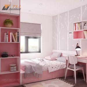 Thiết kế phòng ngủ trẻ em màu hồng hiện đại