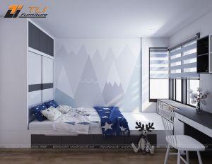 Nội thất phòng ngủ nhỏ cho con trai chị Lan - FLC Star