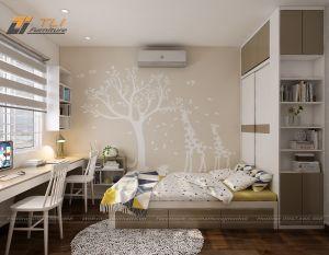 Nội thất phòng ngủ đẹp đơn giản cho bé gái gia đình chị Chung