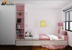 Thiết kế nội thất phòng ngủ cho con gái tại chung cư Gold Season