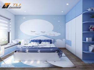 Thiết kế nội thất phòng ngủ con trai tại chung cư An Bình City