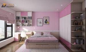 Thiết kế phòng ngủ con gái màu hồng cho gia đình anh Sơn