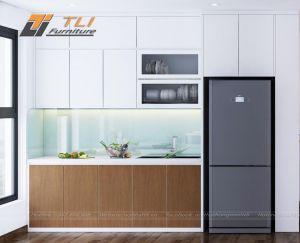 Mẫu thiết kế nội thất phòng bếp nhỏ căn hộ anh Cường