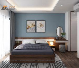 Mẫu thiết kế nội thất phòng ngủ nhỏ cho căn hộ chị Hương