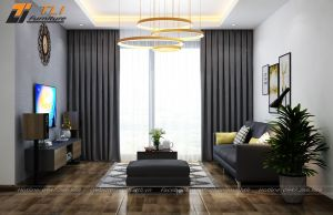 Thiết kế nội thất phòng khách tại chung cư One 18 Ngọc Lâm