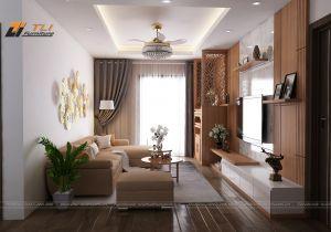 Thiết kế phòng khách nhỏ đẹp ấn tượng cho gia đình anh Đô