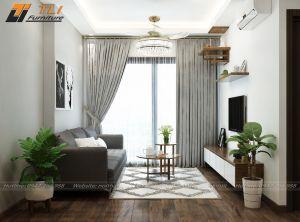 Thiết kế nội thất phòng khách hiện đại tại chung cư Golden Heart