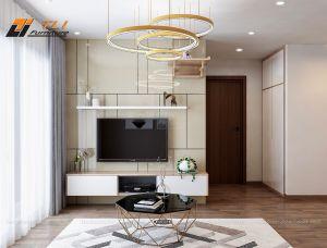 Mẫu bố trí phòng khách đẹp đơn giản tại chung cư Green Bay