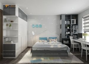 Thiết kế nội thất phòng ngủ con trai đẹp hiện đại đơn giản