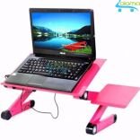 Bàn để laptop điều chỉnh độ cao xoay 360 độ kèm tản nhiệt (hong)
