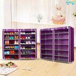 Tủ vải 12 ngăn khung inox để giày dép sách vở đồ dùng HomeBi HB-12N