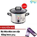 Nồi nấu chậm hầm kho nấu cháo dinh dưỡng 2.5 lít BBcooker BS25 - Tặng bộ thìa đũa