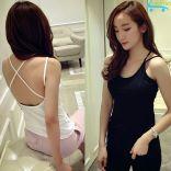 Áo 2 dây nữ Hàn Quốc năng động xinh đẹp Fashion C612 (Trắng/Đen)