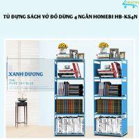 Tủ vải khung thép 4 ngăn đựng sách vở, quần áo, đồ dùng Homebi HB-KS4N