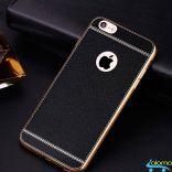 Ốp lưng silicone mặt lưng da sành điệu cho Iphone 8 plus (Black)
