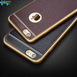 Ốp lưng silicone mặt lưng da cho Iphone 6 plus và iphone 6s plus (Black)