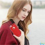 Ốp lưng silicone mặt lưng da sành điệu cho Iphone 7 và iphone 7s (Red)