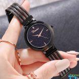 Đồng hồ nữ dây thép mặt đá Sapphire chống nước Dimini D5266 (Đen)