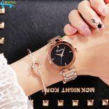 Đồng hồ nữ dây thép mặt đá Sapphire chống nước Dimini D5280 (Vàng)