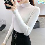 Áo len nữ cổ tròn tay dài co giãn phong cách Hàn Quốc DG-1063 chất liệu Acrylic cao cấp (Trắng/Đen)