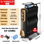 [Bảo hành 24 tháng] Máy sưởi dầu 9 thanh Yangzi YL-1809 làm ấm tự nhiên kèm giá phơi làm ấm phòng 10-20m2