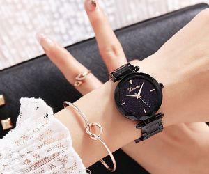 Đồng hồ nữ dây thép mặt đá Sapphire Dimini D5280 (Đen)