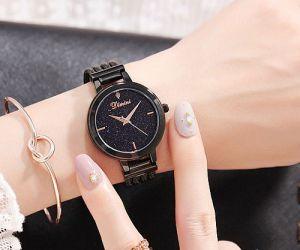Đồng hồ nữ dây thép mặt đá Sapphire Dimini D5266 (Đen)