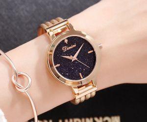 Đồng hồ nữ dây thép mặt đá Sapphire Dimini D5266 (Vàng)